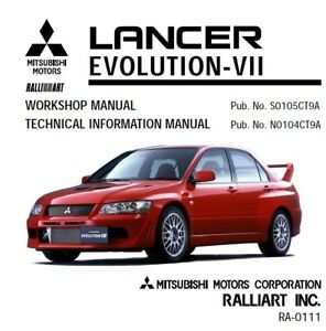 mitsubishi lancer evo 7 ralliart workshop service manual ebay rh ebay ie 2009 lancer ralliart owners manual 2006 mitsubishi lancer ralliart repair manual