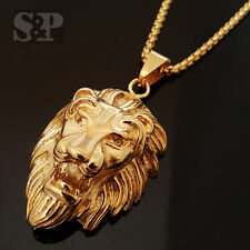 """Gold Stainless Steel MAJESTIC LION HEAD Pendant w/ 24"""" Round Box Chain Necklace"""