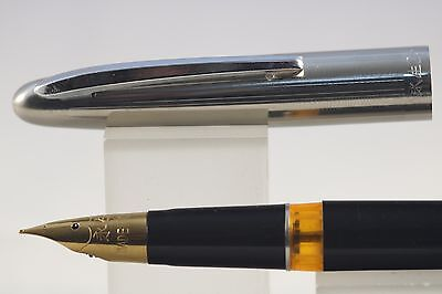 Case 601 Vacumatic Teal Blue Fine Fountain Pen with Chrome Trim Wing Sung No