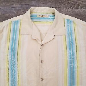 Tommy-Bahama-Hawaiian-Camp-Shirt-Size-Large-100-Silk-Floral-Yellow-Blue-Stripe