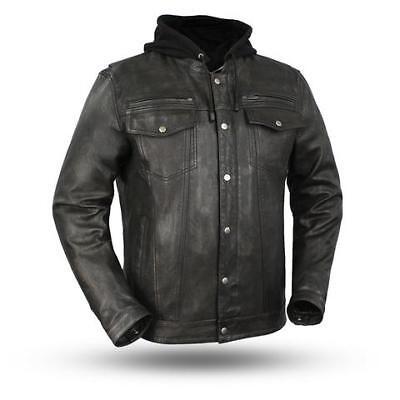 First Mfg Co Mens Street Cruiser Leather Jacket Black, Medium