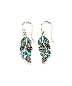 925-Silver-Opal-Ear-Hook-Dangle-Drop-Leaf-Shape-Earrings-Fashion-Jewelry-Women