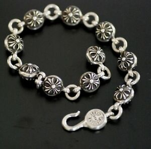 f7ecec4b8184 Image is loading CHROME-HEARTS-Sterling-silver-Cross-Charm-Ball-Bracelet