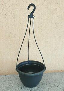 200mm-Outdoor-Indoor-Garden-Patio-Plant-Round-Black-Plastic-Hanging-Basket