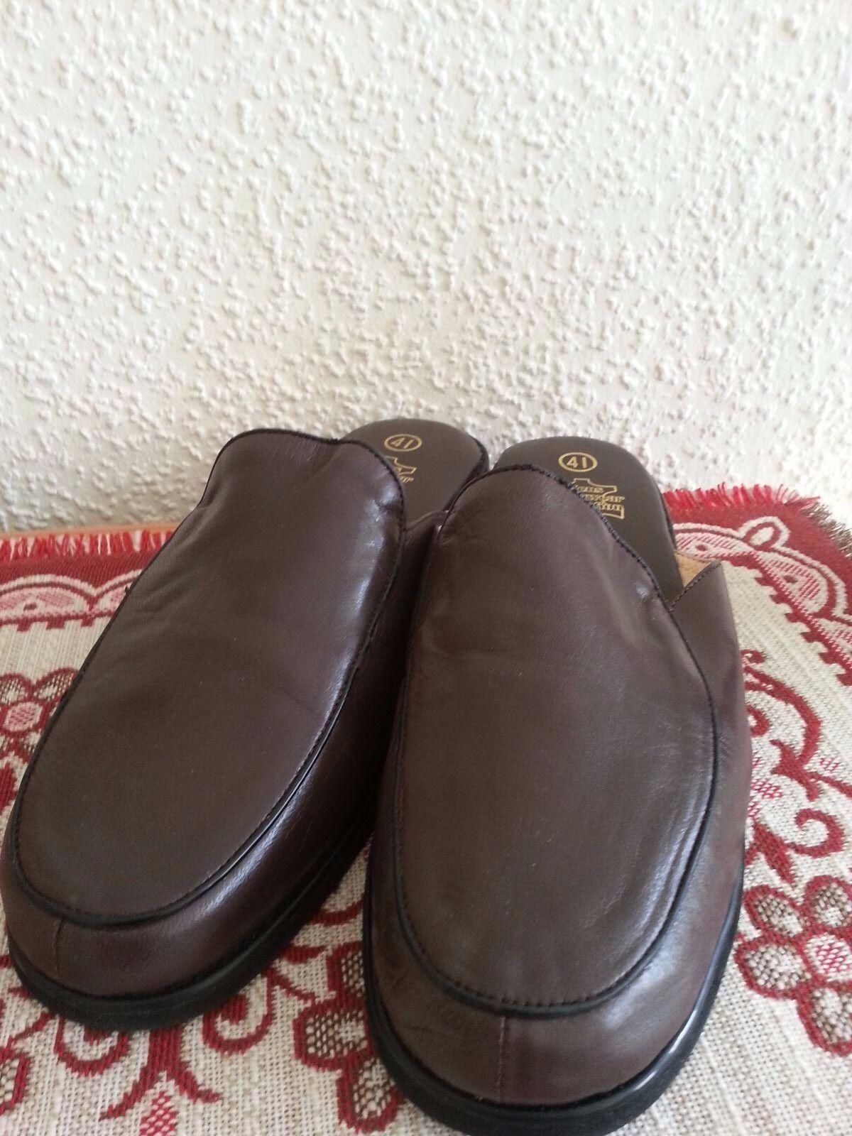 Mens Homewear Collection Pantoffeln Gr 41 Volllederaustattung echt Leder braun
