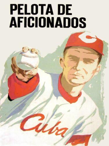 7592.Pelta de aficionados.Cuban baseball player.in red.POSTER.art wall decor