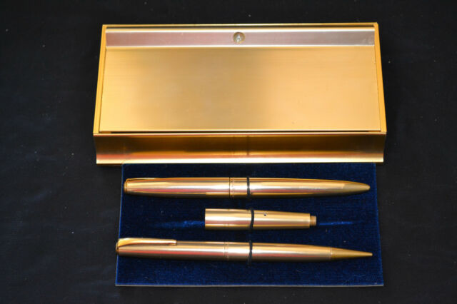 Vtg Executive Secretary Desk Pocket Pen Pencil Set Fountain 14K GOLD Point Nib