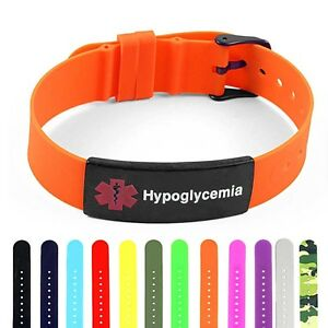 Image Is Loading Idtagged Silicone Medical Alert Hypoglycemia Matte Black Tag