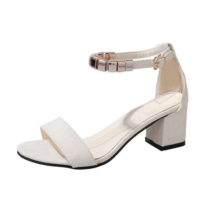 Women Square Heel Sandals String Bead Gladiator Summer