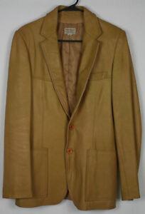 3d370332e6 70s Vintage Yves Saint Laurent Cognac Leather Sport Coat Jacket Mens ...