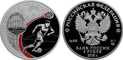 2018 Russia 3 Rubles FIFA World Cup in Ekaterinburg 1 Oz Silver Coin