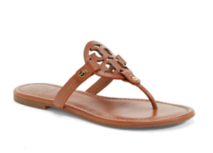 19199a92b8a7 Tory Burch NEW Miller Vintage Vachetta Leather Logo Sandal RUNS .5 ...