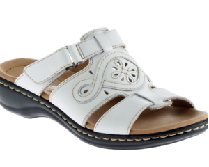 b51cc6adb1e NEW CLARKS LEISA HIGLEY WHITE LEATHER SLIDE SANDALS WOMENS 12 FREE ...