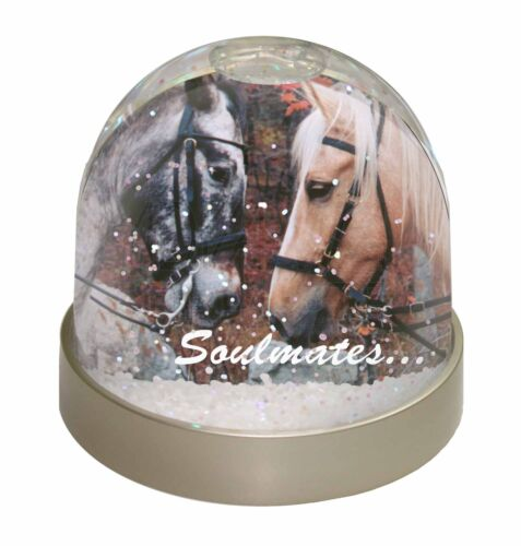 SOUL-68GL Horses in Love /'Soulmates/' Sentiment Photo Snow Globe Waterball Stock