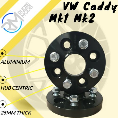 Negro VW Caddy Mk1 Mk2 4x100 25mm Hubcentric Pernos De Rueda Espaciadores 1 Par Inc
