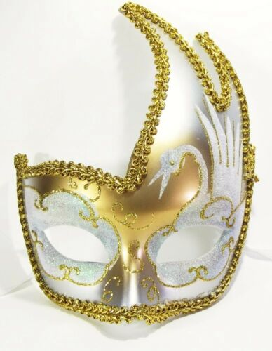 MASCHERINA VENEZIANA decorata color oro e bianco venezia maschera domino