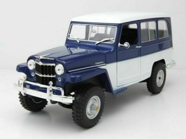 Metallic Blue//White Lucky Die Cast 92858MB 1:18 1955 Willys Jeep Station Wagon Model Vehicle