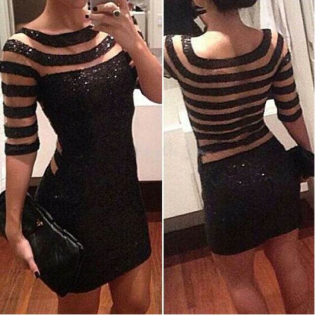 Womens Sexy Black Ladies Mesh Panel Transparent Mini Cocktail Party Dresses 6-20