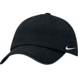 ed0f8840150 Details about NIKE SWOOSH LOGO BASEBALL CAP HAT ADJUSTABLE GOLF SPORTS GYM NAVY  WHITE BLACK