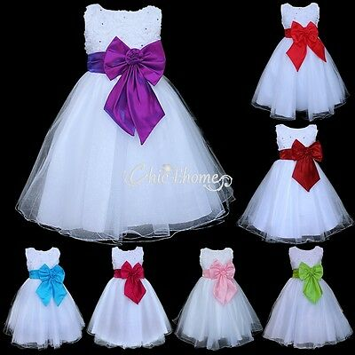 Flower Girl Princess Dress Kids Wedding Party Pageant Formal Bridesmaid Dress