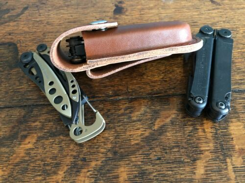 """Classic Brown 4.5/"""" Leather Belt Sheath Fits Leatherman Wave Charge Skeletool etc"""
