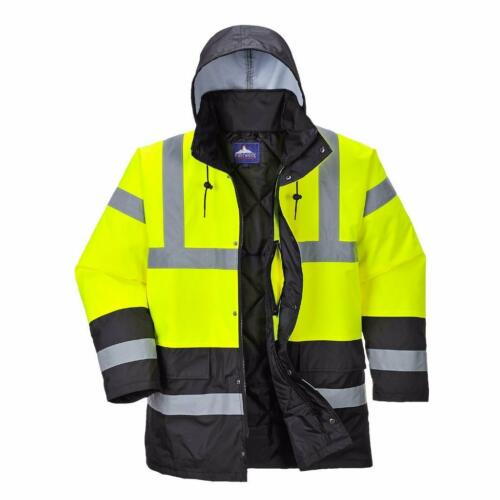 Portwest Hi-Vis Contrast Traffic Jacket Yellow//Navy Blue US466