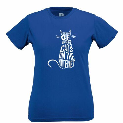 Neuheit Pet Frauen T-Shirt Ich würde eher Cat Videos aufpassen