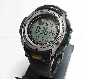 casio pas400b 5v pathfinder fishing timer watch moon phase w rh ebay in Casio Pathfinder PAW1300 Owner's Manual Watch Casio Sport Pathfinder Manual