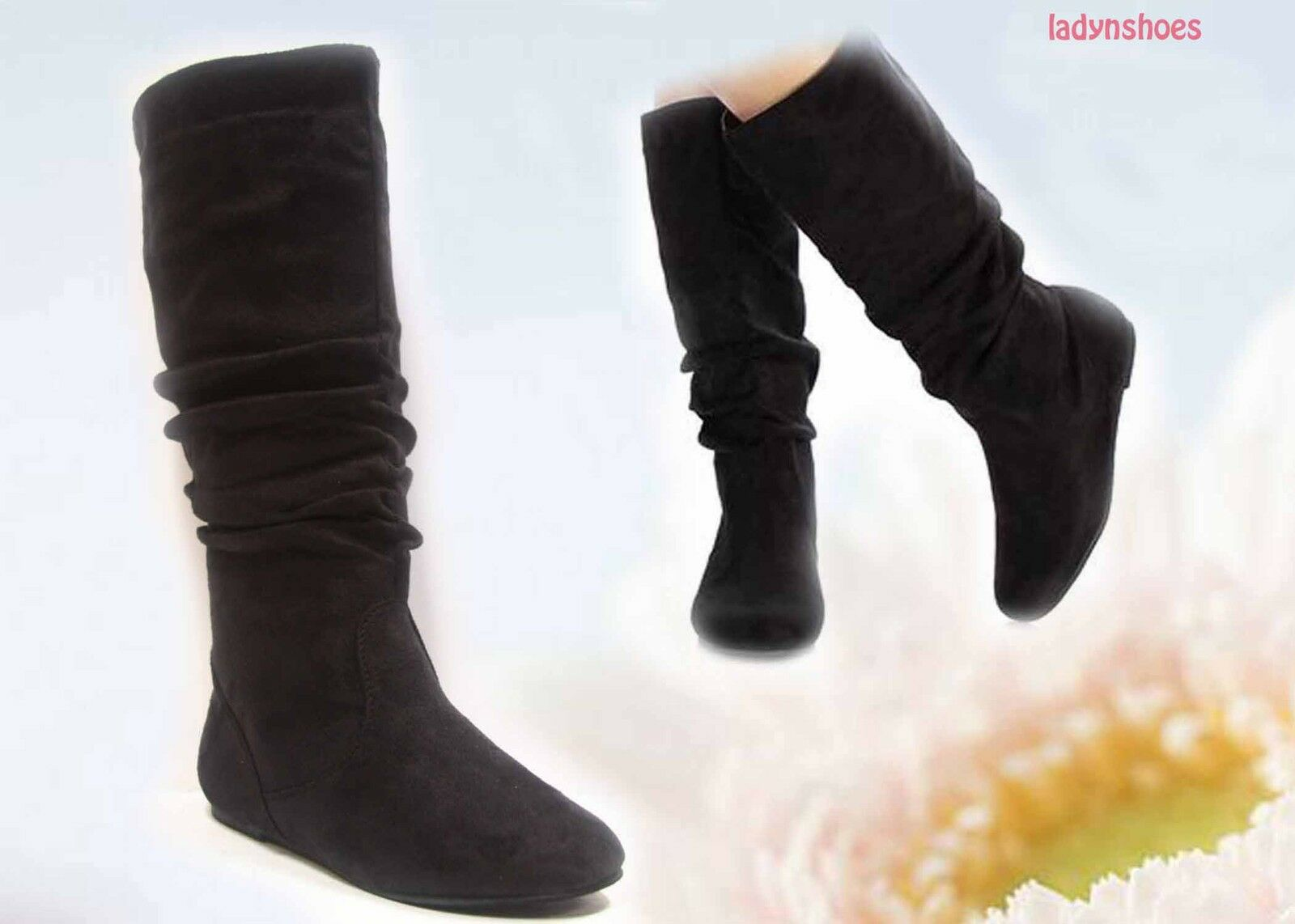 NEW Black Slip On Flat Slouch Mid Calf Knee High Boot Women's Shoes Size 5 -10
