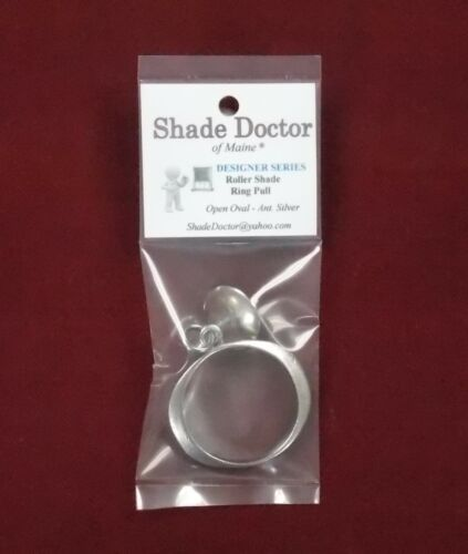 DESIGNER SERIES Antique Silver OPEN OVAL Roller Window Shade RING PULL
