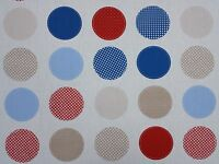 Fryetts Metro Blue Circles Spots Curtain Craft Upholstery Designer Fabric