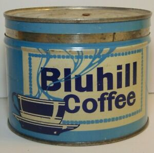 Vintage-1930s-BLUHILL-COFFEE-GRAPHIC-KEYWIND-COFFEE-TIN-1-POUND-DENVER-COLORADO