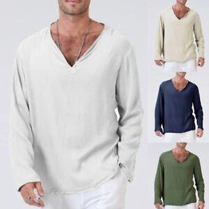 Mens-Summer-T-Shirt-Cotton-Linen-Thai-Hippie-Shirt-V-Neck-Beach-Yoga-Top-Blouse
