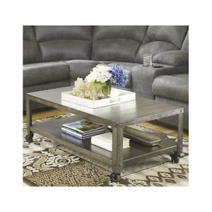 Details about Industrial Modern Coffee Table Rustic Metallic Distressed  Living Room Furniture