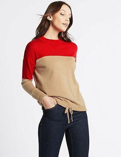M/&S Pure Wool Colour Block Jumper 8//10//20//22 RRP £25