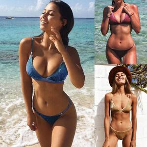 f33e667a71e Women Thong Triangle Bras Bikini Push Up Swimwear Velvet Bathing ...
