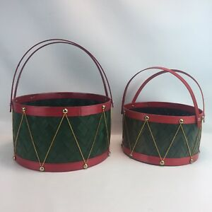 Christmas Drum Decor.Details About Nesting Christmas Drum Baskets Food Gift Decor