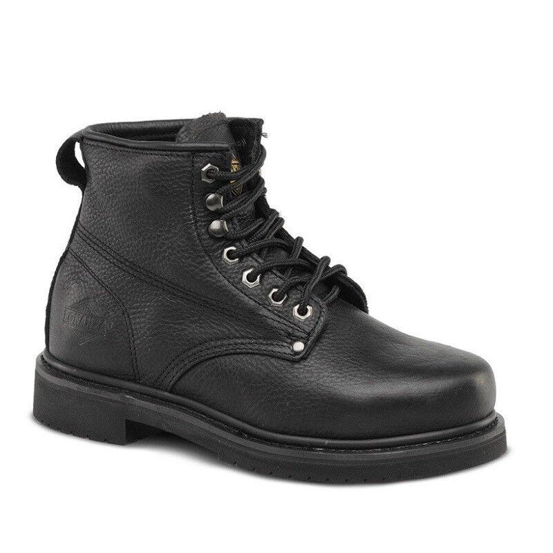 Para hombres Cuero Negro 6  LLANO TOE trabajo acero dedo botas BONANZA 615 (D, M)