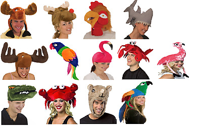Animal Hats Plush Squid Moose Reindeer Parrot Alligator Choose Your Hat