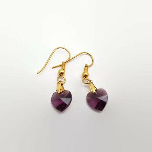 Purple-Crystal-Heart-Gold-Tone-Earrings