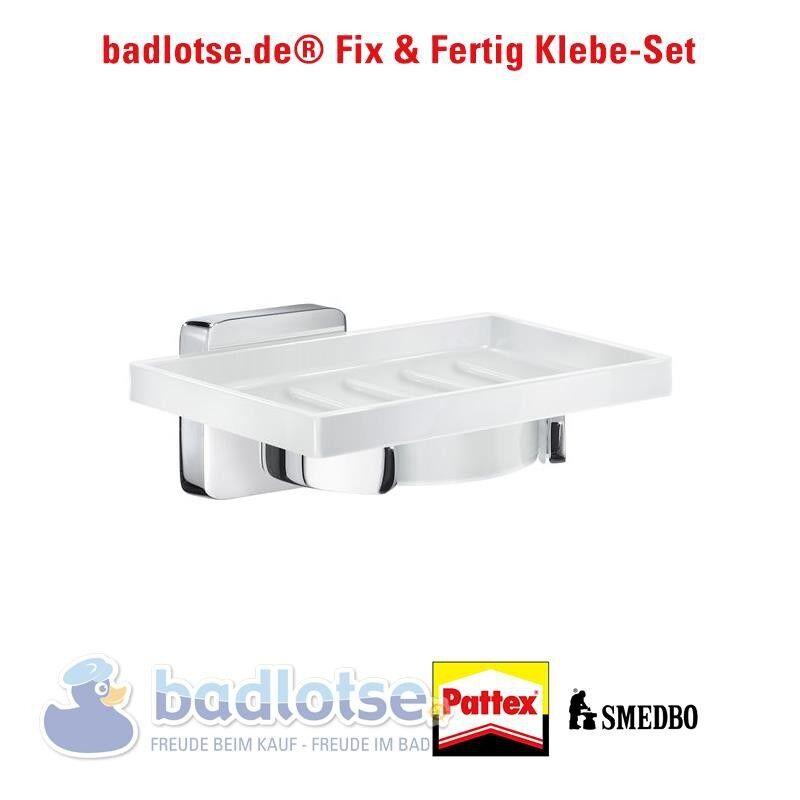 SMEDBO ICE Seifenschale Porzellan Wandhalter OK342P+Kleber Klebe-Set ohne Bohren