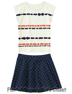 NWT Gymboree POSH AND PLAYFUL Girls Size 4 or 5 Skirt Tee Shirt Top 2-PC OUTFIT
