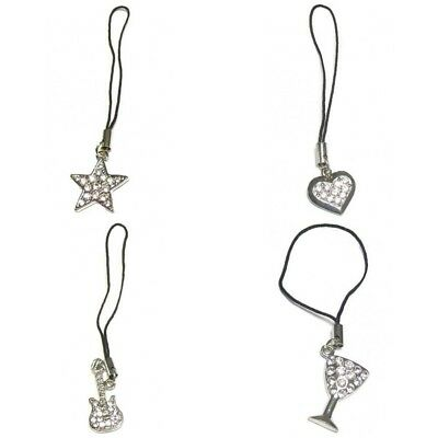 4 Smart Mobile Phone Tablet Charm Heart Star Guitar Glass Silver Crystal Handbag Hohe Sicherheit