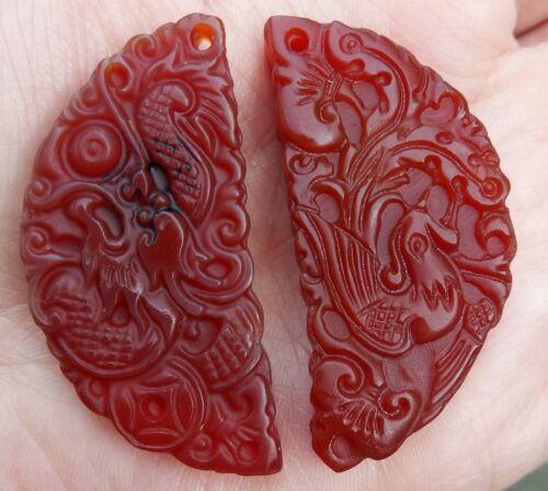 Big Delicately Carved Full Moon DragonPhoenix Carnelian Amulet Pendant