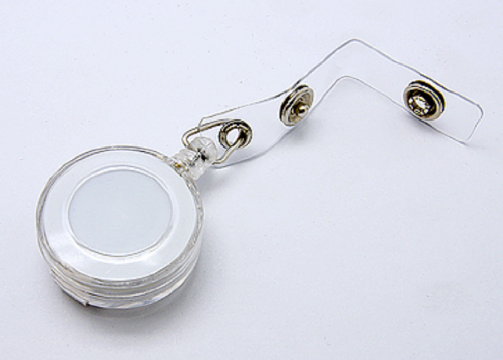 1 Transparent Clear ID Reel for Ski Passes or Lanyards Retractable. Clip on Back