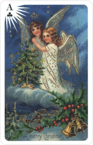 Old Time Christmas Angels Deluxe 2 Deck Bridge Set In Tin Playing Cards USGS