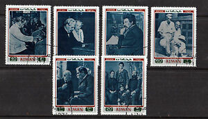 AJMAN-1971-ALBERT-SCHWEITZER-SET-OF-ALL-6-COMMEMORATIVE-VALUES-STAMPS-CTO