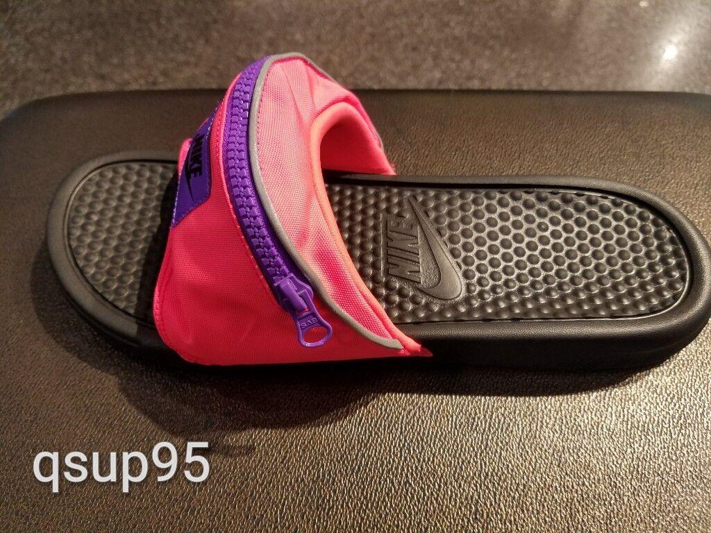 Nike Benassi JDI Fanny Pack Slide Hyper Punch Pink Black AO1037-600 Men's 4-13