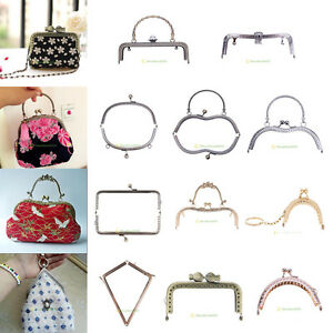 Metal Bag Frame Kiss Clasp Lock Clutch Handbag Handle Purse Silver DIY Supply
