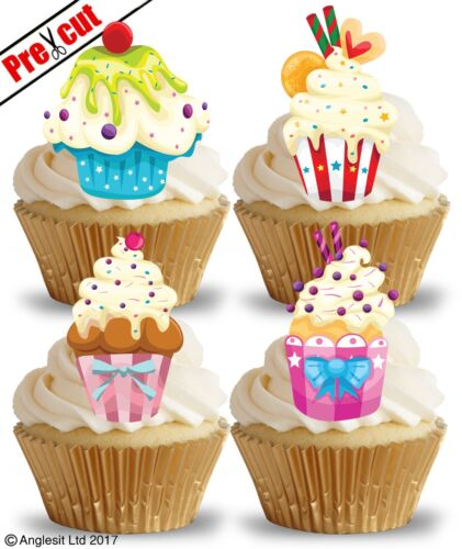 PRE-CUT CUPCAKES EDIBLE WAFER PAPER CUP CAKE TOPPERS BIRTHDAY PARTY DECORATIONS